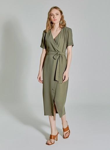 People By Fabrika Bağlamalı Düğme Detaylı Kruvaze Elbise Haki